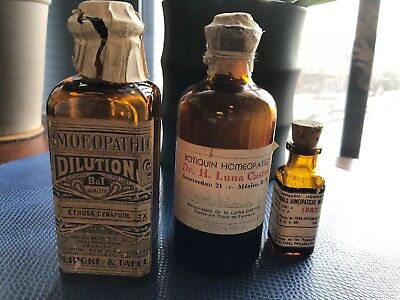 Antique Apothecary set of 3 bottles.