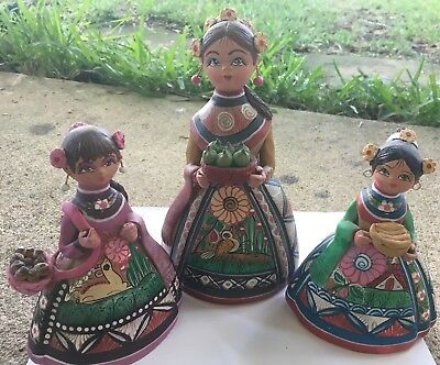 3 Hand painted Mexican Folk Art Pottery Woman & Girls Figurine Character Bread