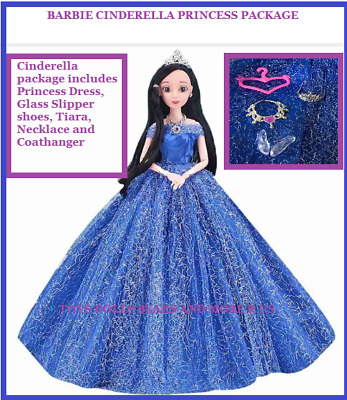 New Barbie Doll Clothes Cinderella Princess Dress Shoes Tiara Necklace Hanger
