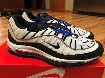1630c27617 Nike Air Max 98 White Black Racer Blue Volt 640744 103 Men's Size 9.5