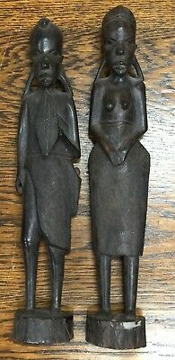 2 Vintage Carved Ebony Tanzanian African Tribal  Figures Man Woman Sculptures