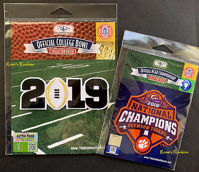 2018 Ncaa National Champs Patch + 2019 Cfp Championship Playoff Patch - Clemson