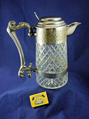 Large Victorian Silver Plated Lidded Cut Glass Jug. 9 Inches Tall.