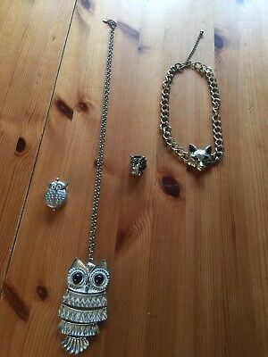 Tiger Ring, Fox Necklace With Small Owl Necklace Watch And Owl Necklace
