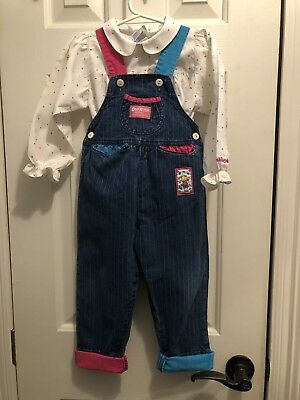 Vintage 80's 90's Oshkosh B'Gosh Toddler Overalls Shirt Outfit Size 3T