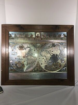 """VINTAGE SILVER FOIL BLAEU Wall map OLD and NEW WORLD 21"""" BY 17"""""""