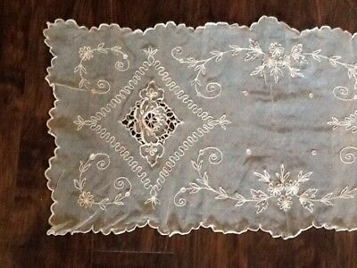 Vintage Tambour Net Lace Embroidered Runners Dresser Scarf Set