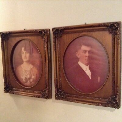 Nice Pair Of Large Antique Wooden Frames With Old Photos