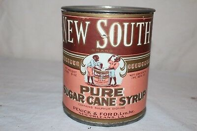Vintage 1920's New South Sugar Cane Syrup Black Americana Metal Can Sign