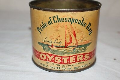 Vintage Pride Of Chesapeake Bay Canned Oysters Metal Tin Can Sign