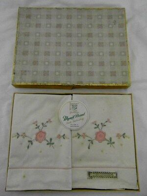 Vintage Pillow Case & Bolster Set Embroidered 1950's Light Marks in Original Box