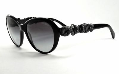 a578673b46b9a CHANEL 5316Q 501 S8 Black Quilted Flowers Oval   Gray Gradient Sunglasses