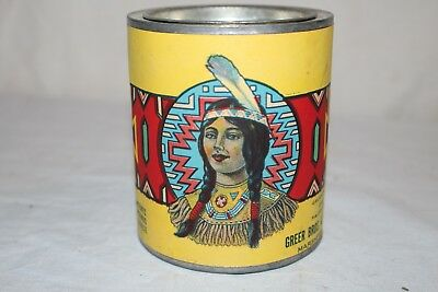 Vintage 1920's Greer's Special Canned Tomatoes Metal Tin Can Sign W/Indian