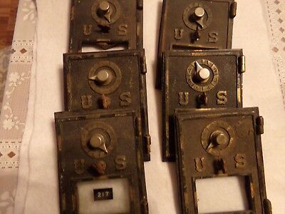 Vintage Bronze / Brass Post Office Box doors for repair or parts- Lot of 6