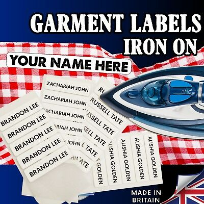 Iron on Garment Labels Name Tags for School Clothing PRINTED IN UK lot