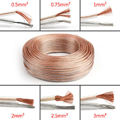 1M Car Home Audio Speaker Wire Cable OFC Gold Silver 2×2mm² 14AWG 3FT US