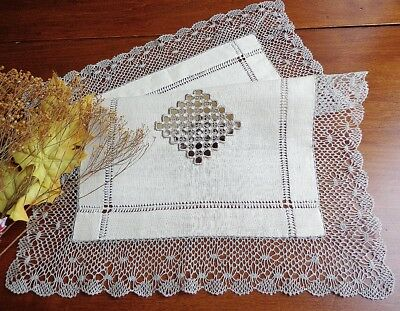 Antique Tray Cloth Table Centerpiece Hand-Embroidery and Handmade Torchon Lace