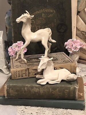 2 Vintage Pulled Clay Pottery Small White Horse Sculptures Figurines Signed WP?