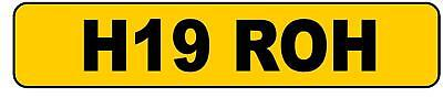 Private Personalised Cherished Number Plate H19 ROH