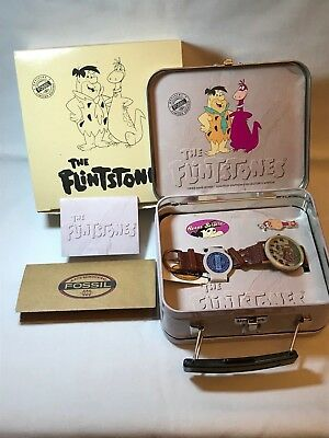 The Flintstones Fred And Dino Limited Edition Fossil Watch W/ Lunch Pail & Pin