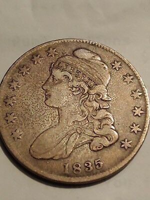 1835 Capped Bust Half Dollar - 50c Silver - Toned