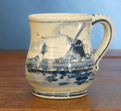 A Vintage delft blue and white miniature tankard vase with wind mill [ 1638].