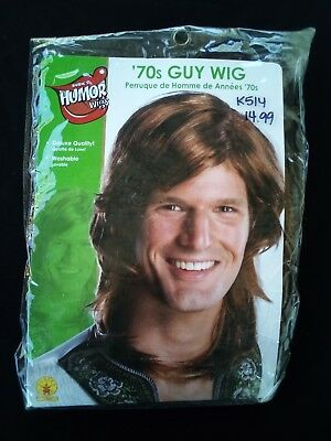 Mens Adult 70S 80S Guy Deluxe Brown Hippie Costume Wig Washable