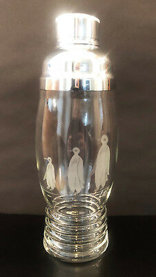 """Never Used """"shaeffer"""" Etched Shaker By Carl Uhrman For Imperial Glass Ca 1937"""