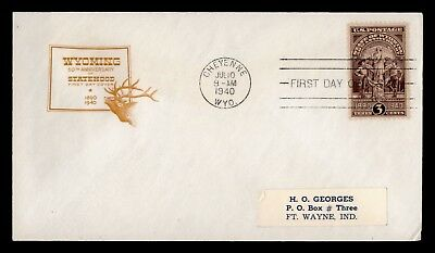 Dr Who 1940 Wyoming 50Th Anniversary Of Statehood Fdc C60503