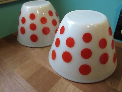 Pair of Vintage Fire king Mixing splash proof bowls white with red polka dots