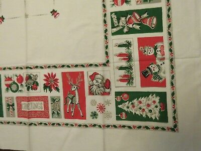 Vintage HTF CHRISTMAS Tablecloth MCM Atomic PineCones Candles Reindeer Snowman