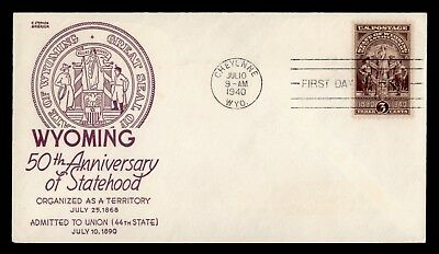 Dr Who 1940 Wyoming 50Th Anniversary Of Statehood Fdc C60535
