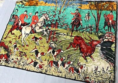 Vintage Equestrian Hunt Velour Throw Rug Table Cover Wall Art 34x48