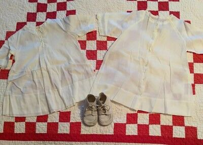 Vintage Antique Lot of 3 Baby Girl Handmade Dresses Nightgowns And Shoes