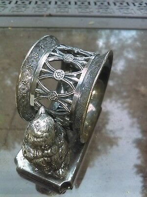 Antique silverplate Figural Napkin Ring Fabulous Design. James W Tufts #1618