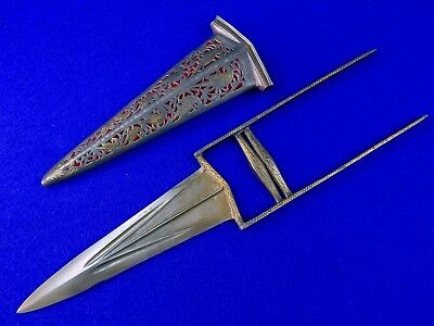 Antique Indian India 19 Century Katar Gold Etched Wootz Knife Dagger w/ Scabbard