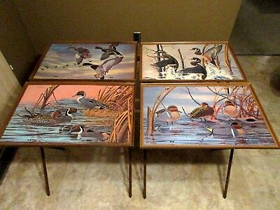 "Vtg Mid Century ""J. MacLeod"" Duck WildLife Designed TV Trays- Set of 4"