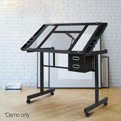 Adjustable Drawing Table Glass Desk Drafting Board Craft Art Tilt Drawers Grey