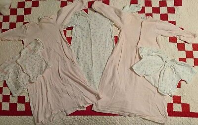 Lot Of 5 Carters Girls Vintage 6 Months Layettes And Shirts Floral And Gingham