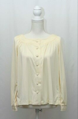 Sears vintage 80s cream colored cowl neck button front blouse