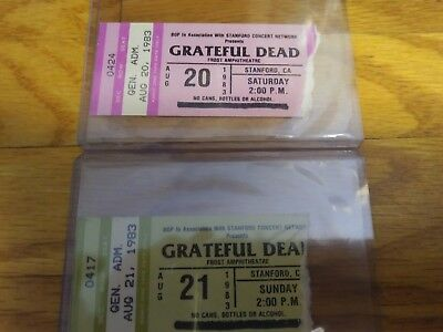 Grateful Dead Tickets, Mail Order, Stubs, 1983, 08/20/1983 & 08/21, Frost Amp