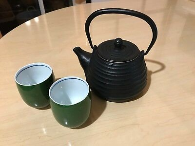 800ml Vintage Iron Japanese Style Teapot Infuser Filter with 2 Japanese Tea Cups