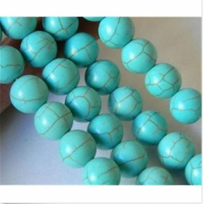 "10mm Blue Turkey Turquoise Gemstone Round Loose Beads 15"" Strand C1447"