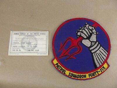 Cold War/Vietnam? US NAVY PATCH Patrol Squadron forty-six ORIGINAL USN