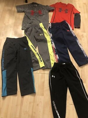 LOT OF  6 BOY'S UNDER ARMOUR Athletic Pants/tops LOOK!!! Size 5
