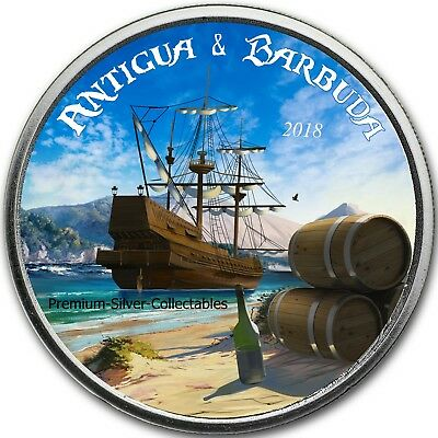 2018 Antigua & Barbuda - 1 Ounce Pure Silver Colorized Rum Runner Coin Series!
