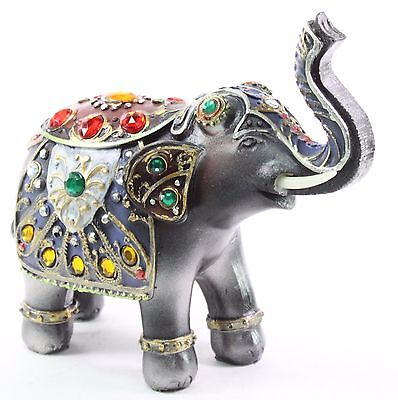 "Feng Shui 6.5"" Dark Gray Elephant Trunk Statue Lucky Figurine Gift Home Decor"