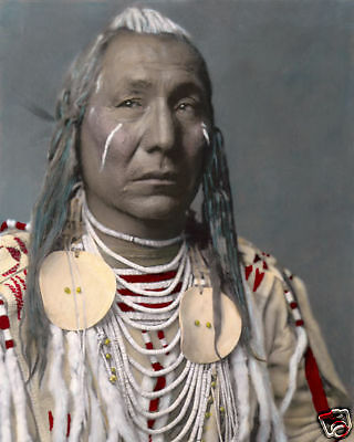 "RED WING NATIVE AMERICAN INDIAN APSAROKE CROW 8x10"" HAND COLOR TINTED PHOTOGRAPH"