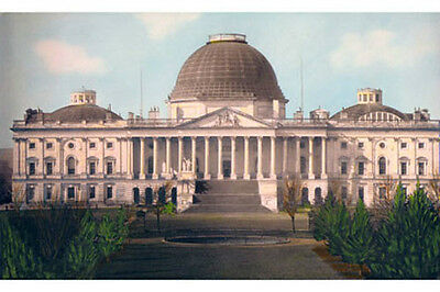 "U.S. CAPITOL BUILDING WASHINGTON DC 1846 8x12"" HAND COLOR TINTED PHOTOGRAPH"