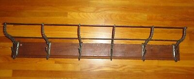 Vintage Cast Metal Oak Railroad Train  Coat Hat Rack 6 Hooks
